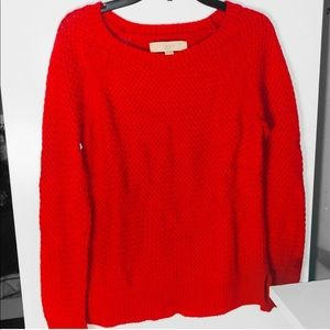 Loft Red Woven Knit Sweater - Medium